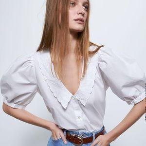 NWT Zara Embroidered Poplin Shirt In White
